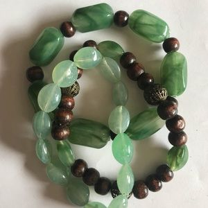 Green and brown beaded bracelets